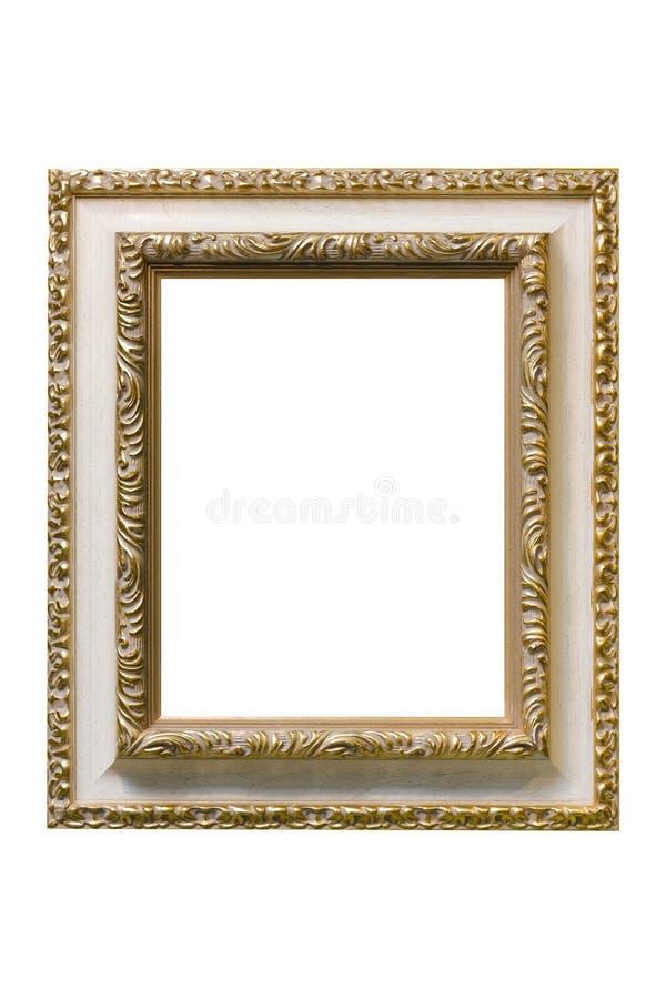 Gold überzogener hölzerner Bilderrahmen stockbild