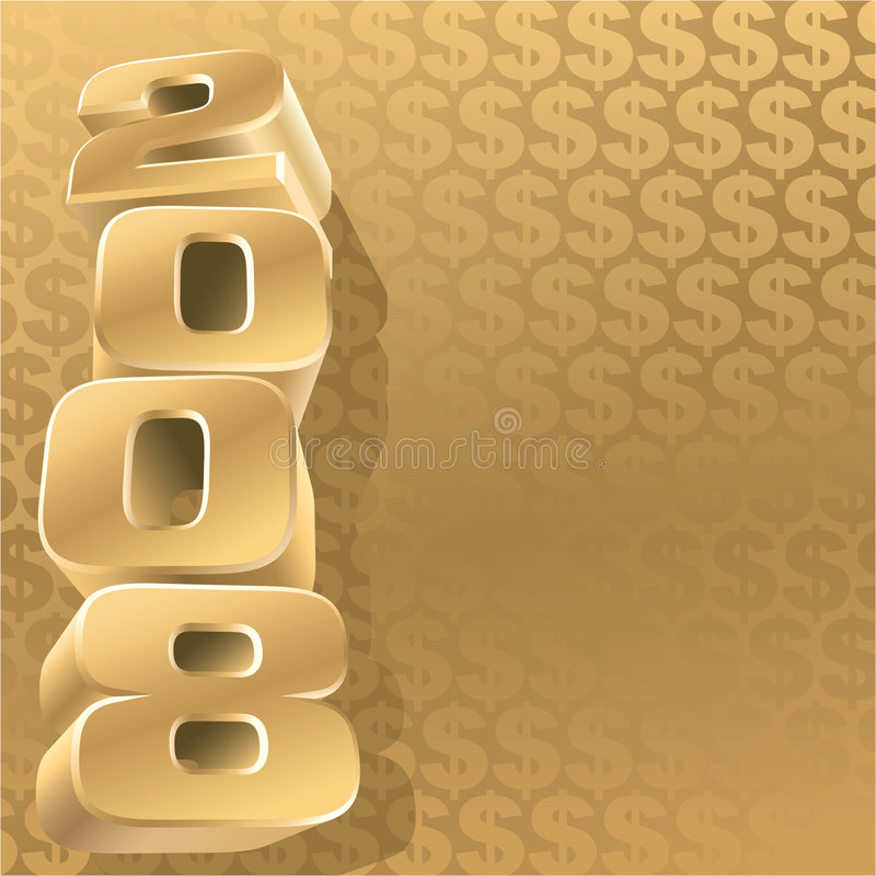 Gold 2008 dollar. Gold 2008 and gold dollar background, vector stock illustration