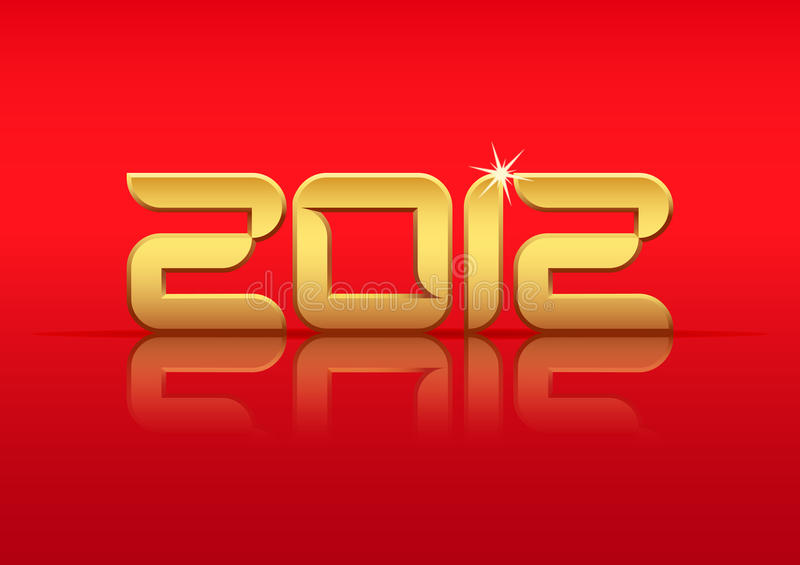 Gold 2012 Year With Reflection Royalty Free Stock Photos