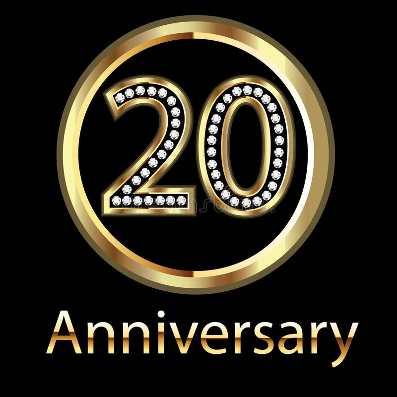 Gold 20th Anniversary Birthday Royalty Free Stock Image