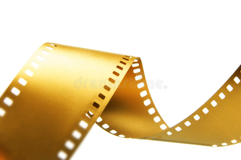Gold 35 mm film. Isolated over white background stock photo
