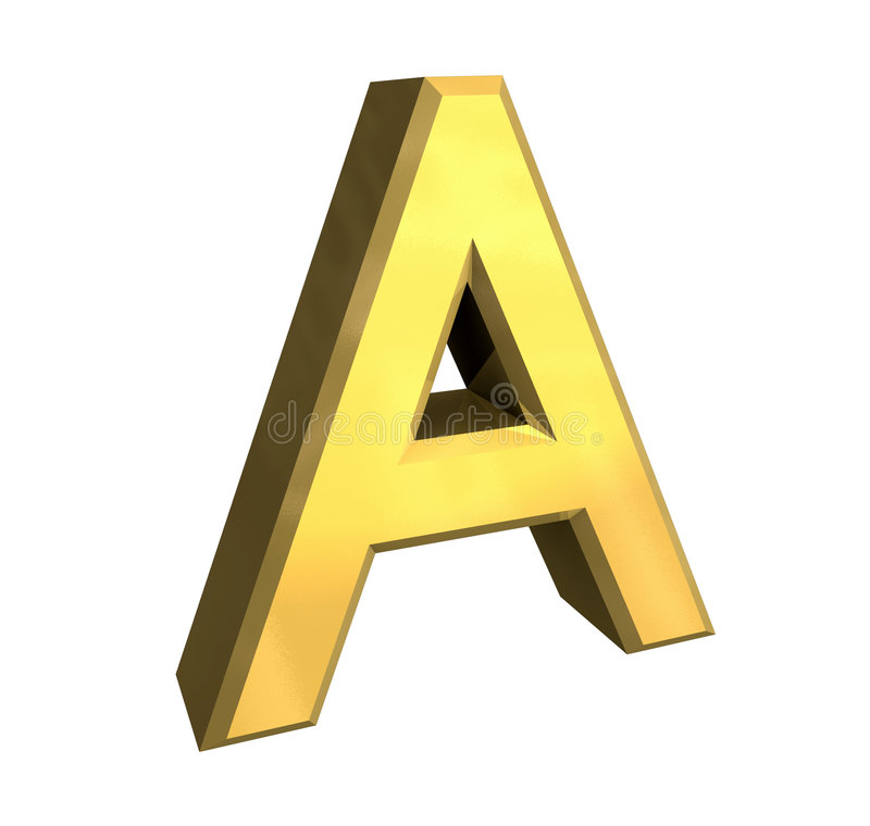 Gold 3d letter A stock illustration