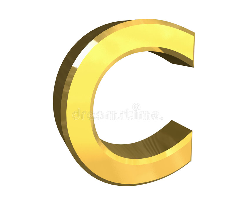 Gold 3d letter C royalty free illustration