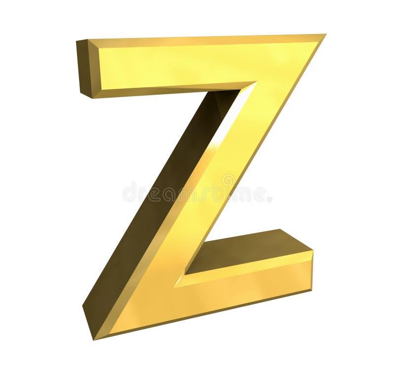 Gold 3d letter Z stock illustration. Illustration of render - 3848568