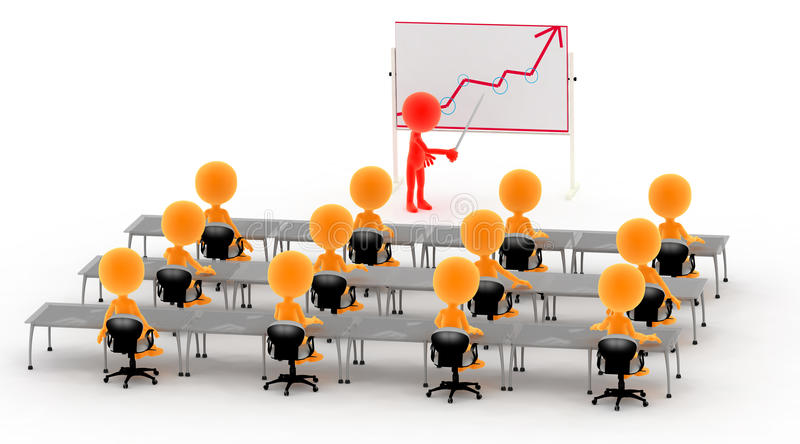 Gold 3d men on business lecture stock illustration