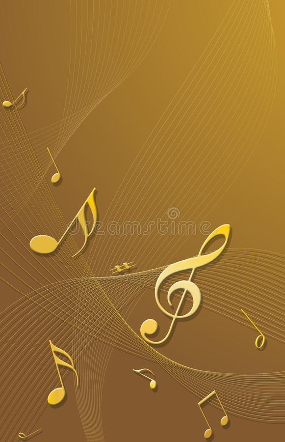 Gold 3D music notes. High quality gold 3D music notes stock illustration