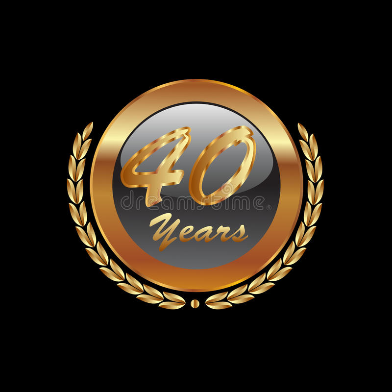 Gold 40th years. Gold laurel wreath 40th anniversary royalty free illustration