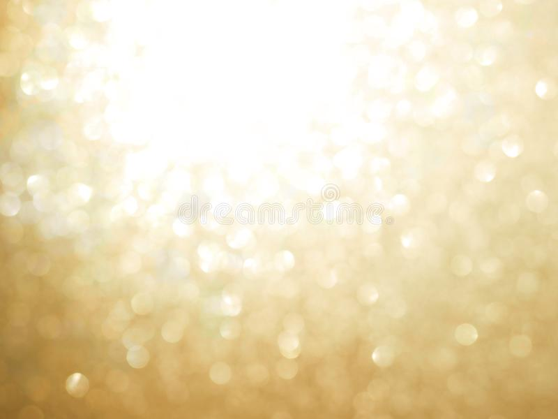 Gold abstract blured background and white bokeh. For Christmas or new year holiday concept royalty free stock image