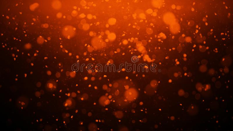 Gold abstract bokeh background. real dust particles with real lens flare stars. glitter lights royalty free illustration