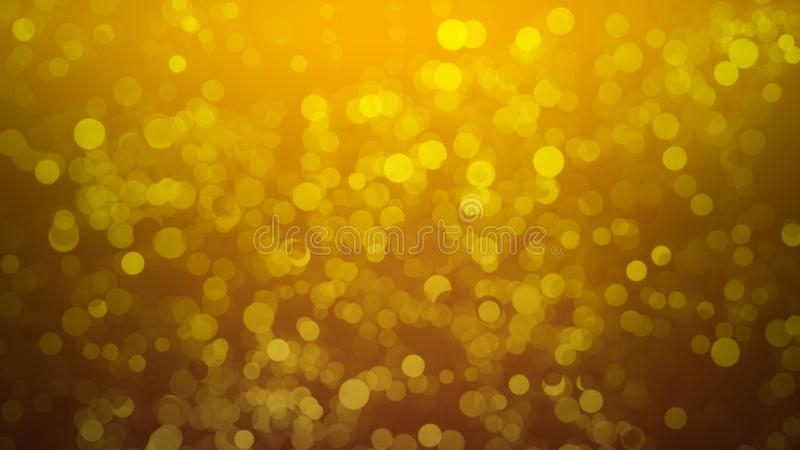 Gold abstract bokeh background. real dust particles with real lens flare stars. glitter lights royalty free stock image