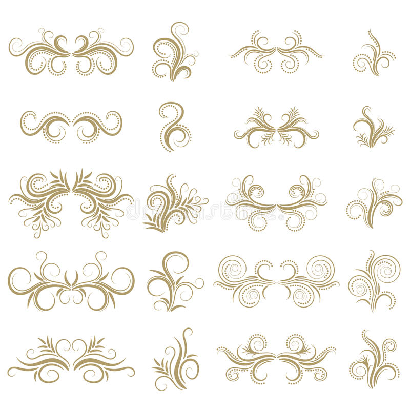 Gold abstract curly design element set on white background. Dividers. Swirls. stock illustration