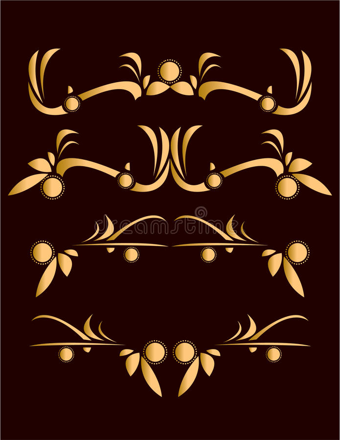 Gold abstract design elements vector illustration