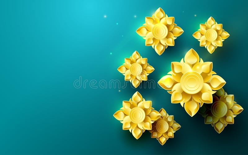 Gold abstract flowers asian pattern in green background. Illustration vector. Gold abstract flowers asian pattern in green background. Space for your text royalty free illustration