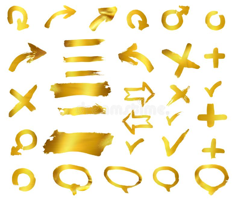 Gold abstract hand-painted brush and stroke arrows royalty free stock photo