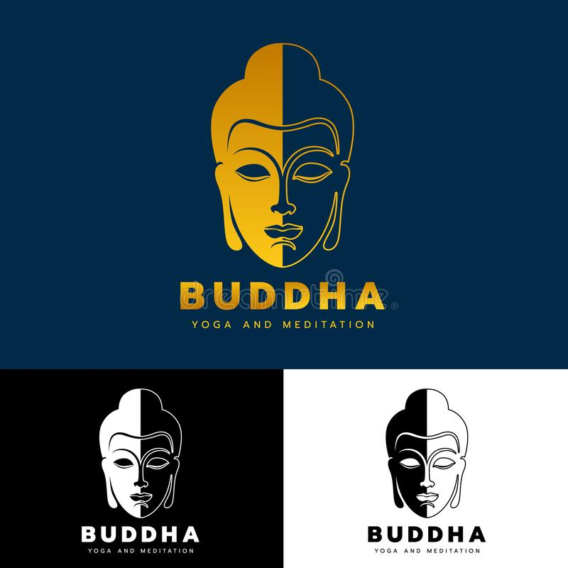 Gold abstract head Buddha logo sign Yoga and meditation concept vector art design vector illustration