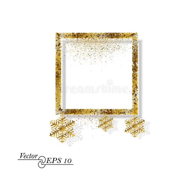 Gold abstract square with snowflakes. Falling gold dust on white isolated background. Vector frame for new year, Christmas. stock illustration