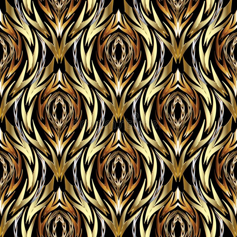 Gold abstract textured vector seamless pattern. Patterned ornamental wavy background. Decorative vintage ornaments. Wavy braided stock illustration