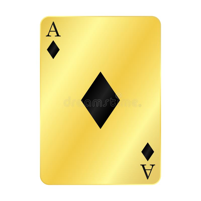 Fun gold ace of diamonds. Gold ace of diamonds card casino chance club fortune gamble gambling game heart illustration isolated luck play poker risk spade symbol royalty free illustration