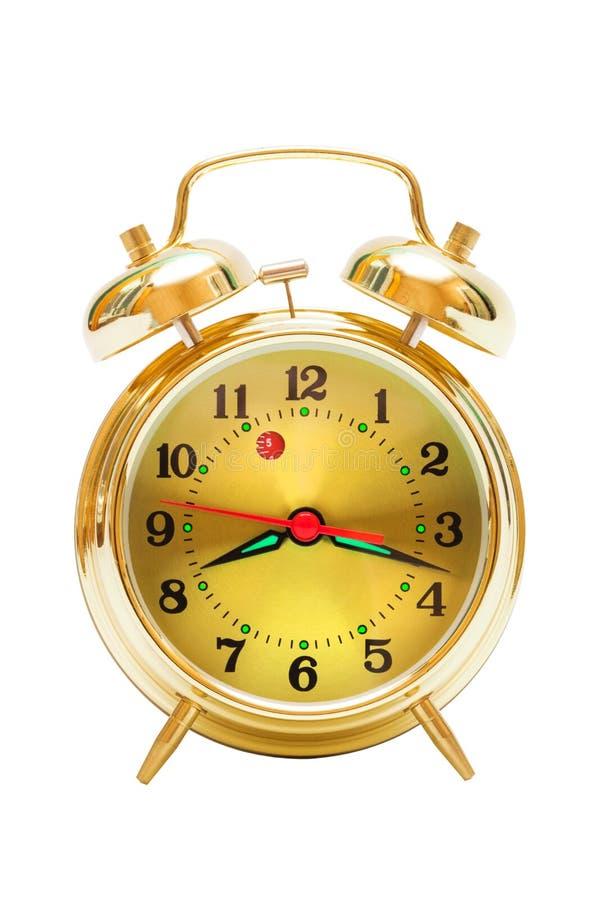Gold alarm clock stock photos
