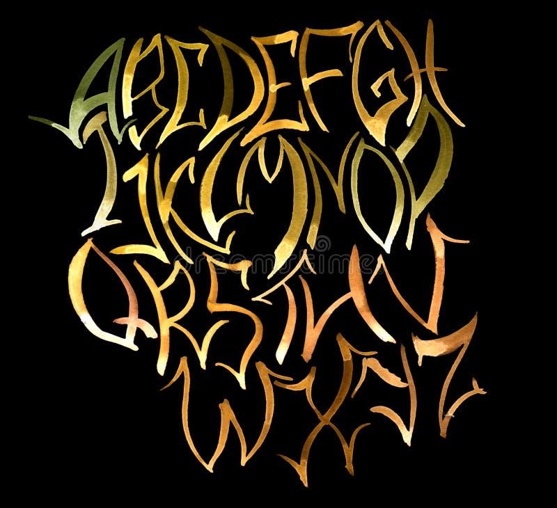 Gold alphabet on black background. Hand drawn illustration stock images