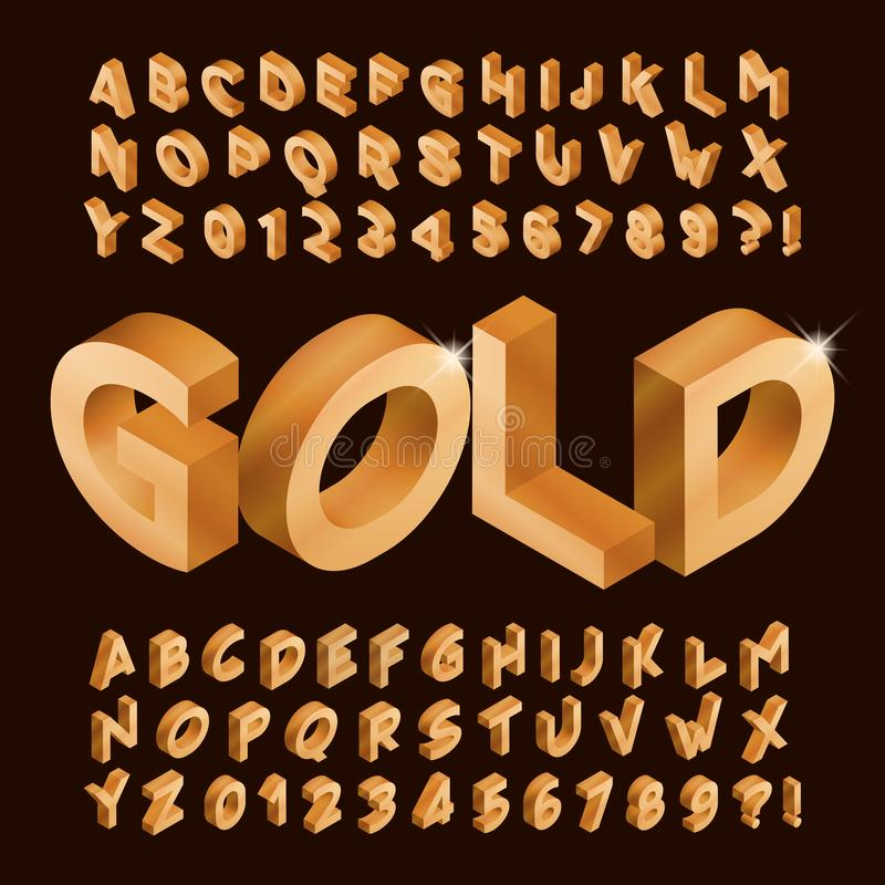Free Gold Alphabet Font. Isometric Golden Letters And Numbers. Royalty Free Stock Photo - 161052625