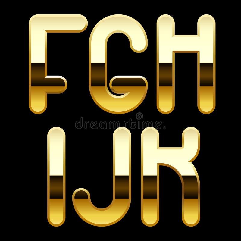 Gold alphabet letters stock vector Illustration of black