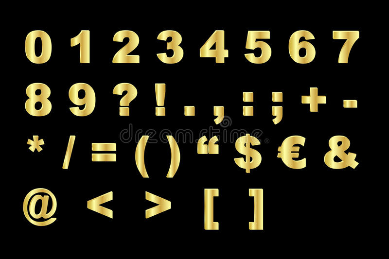 Download Gold Alphabet - Numbers And Symbols Royalty Free Stock Image - Image: 19386906