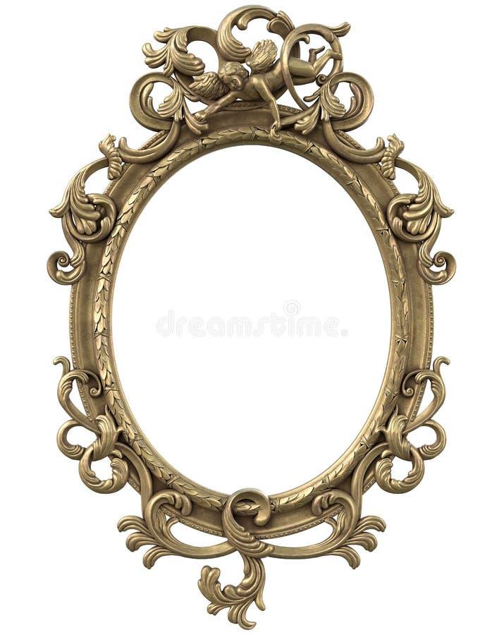 Gold Anatique Frame isolated on white background royalty free stock image