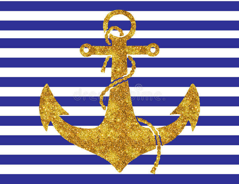 Download Gold Anchor On Navy Stripes Stock Illustration