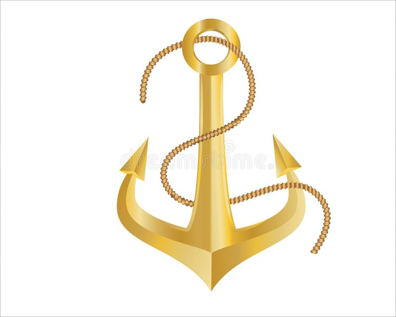 Gold Anchor and Rope on white background royalty free stock images