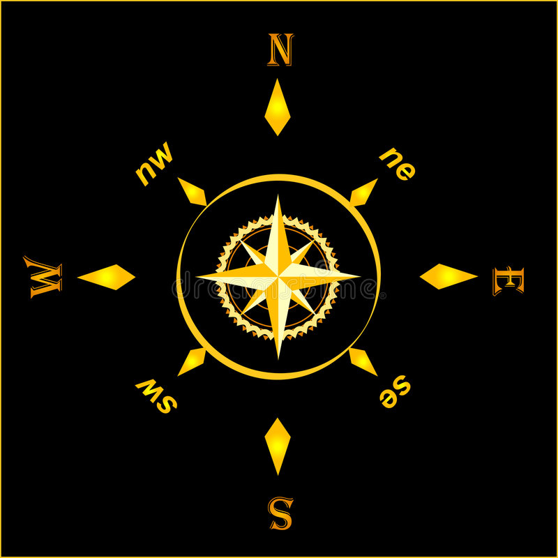 Gold ancient compass royalty free illustration