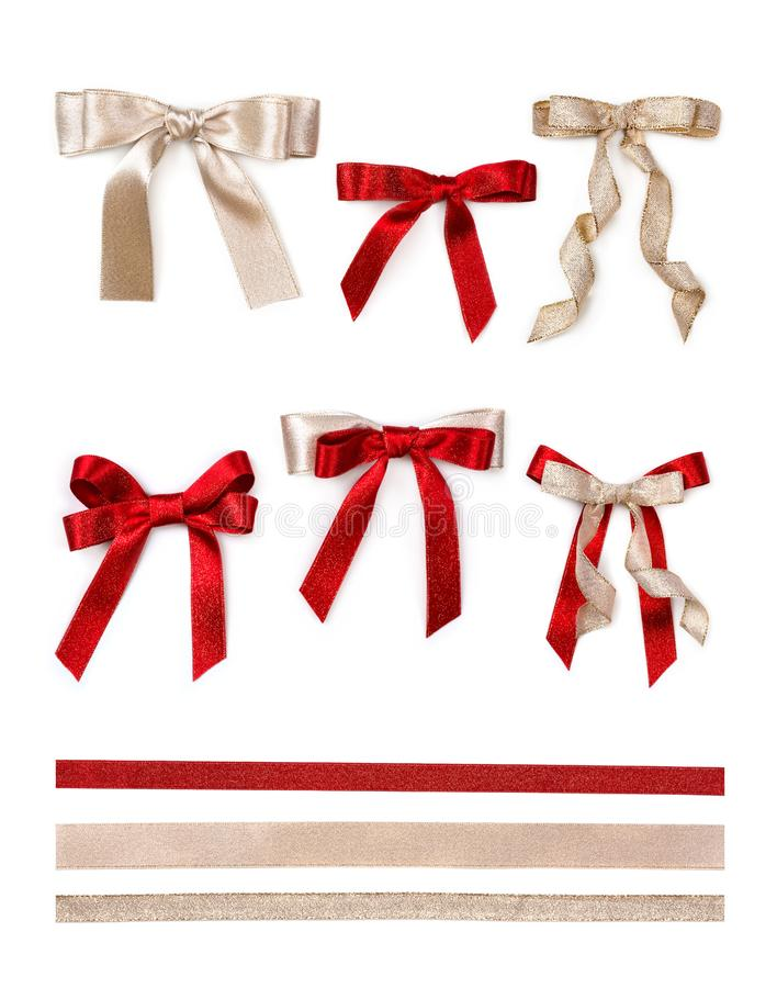Free Gold And Red Bows Royalty Free Stock Images - 103564919