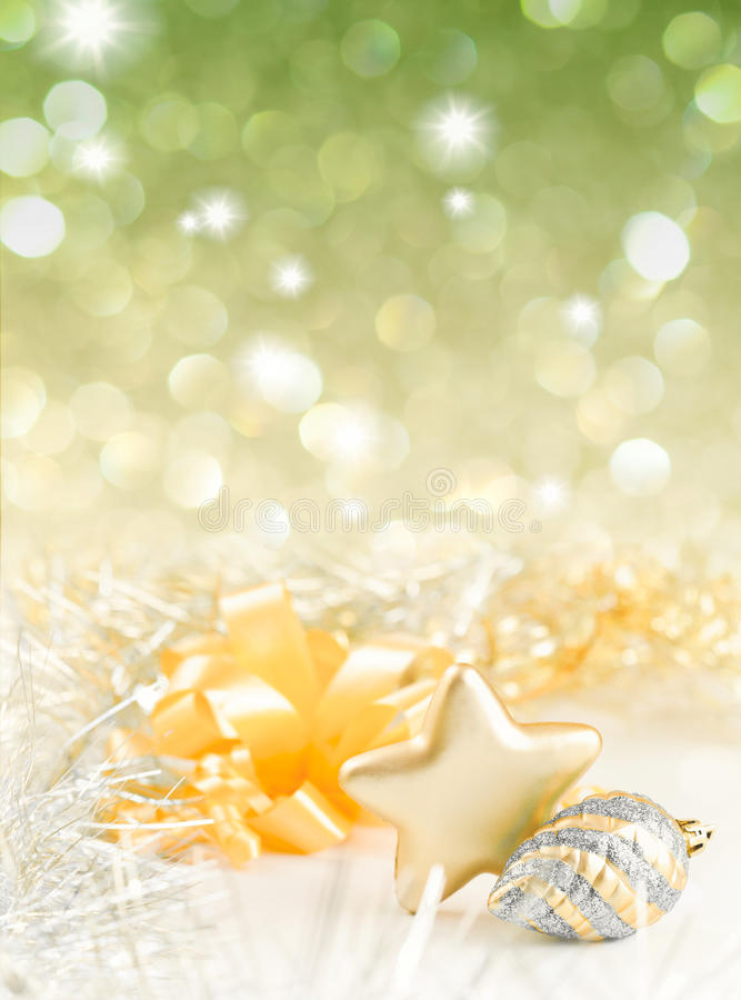 Free Gold And Silver Christmas Baubles On Background Stock Images - 21411434