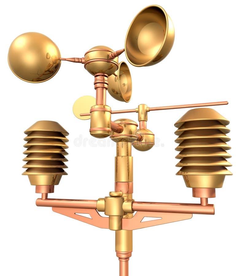 Gold anemometer weatherstation. Meteorological weather station (measurement equipment royalty free illustration