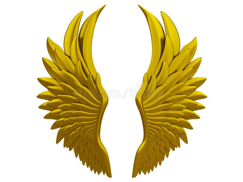 Gold angel wings isolated on a white background 3d rendering vector illustration