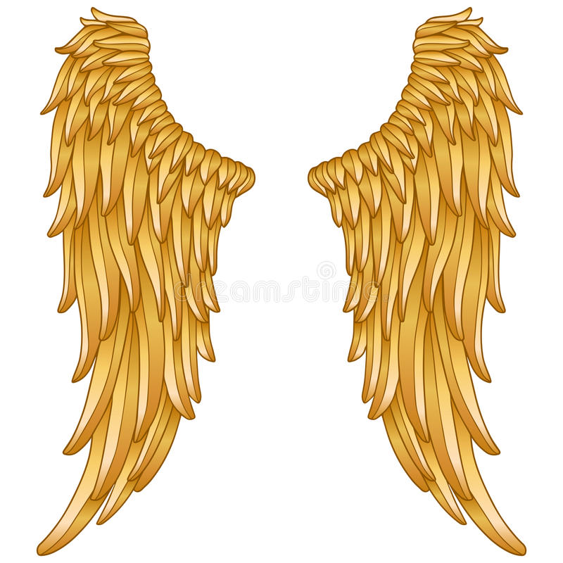 Gold angel wings stock illustration