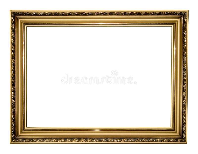 Gold antique frame. Isolated on white background stock image