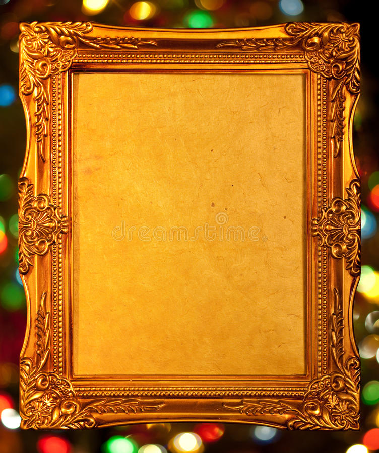 Free Gold Antique Frame, Abstract Bokeh Background Royalty Free Stock Photography - 13010257
