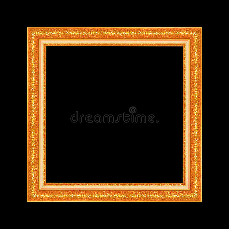 Gold antique frame isolated on black background royalty free stock photography