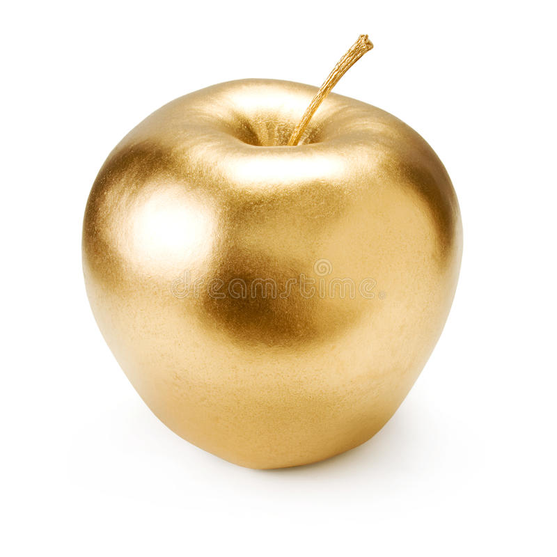 Gold apple. stock photo