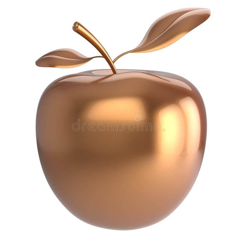 Gold apple fruit icon luxury golden. Gold apple fruit nutrition antioxidant fresh ripe exotic agriculture icon luxury golden. 3d render isolated on white stock illustration