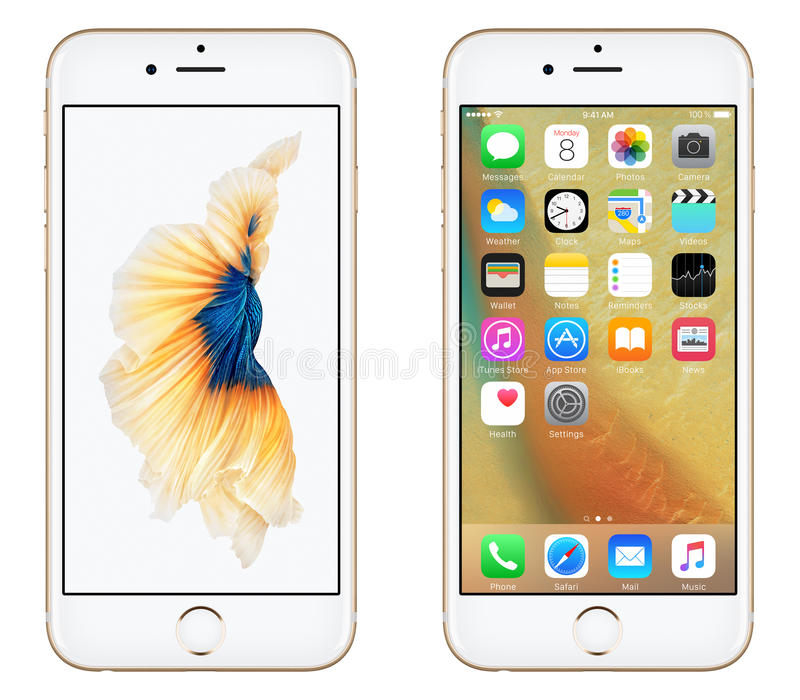 Download Gold Apple IPhone 6S Front View With IOS 9 And Dynamic Wallpaper On The Screen