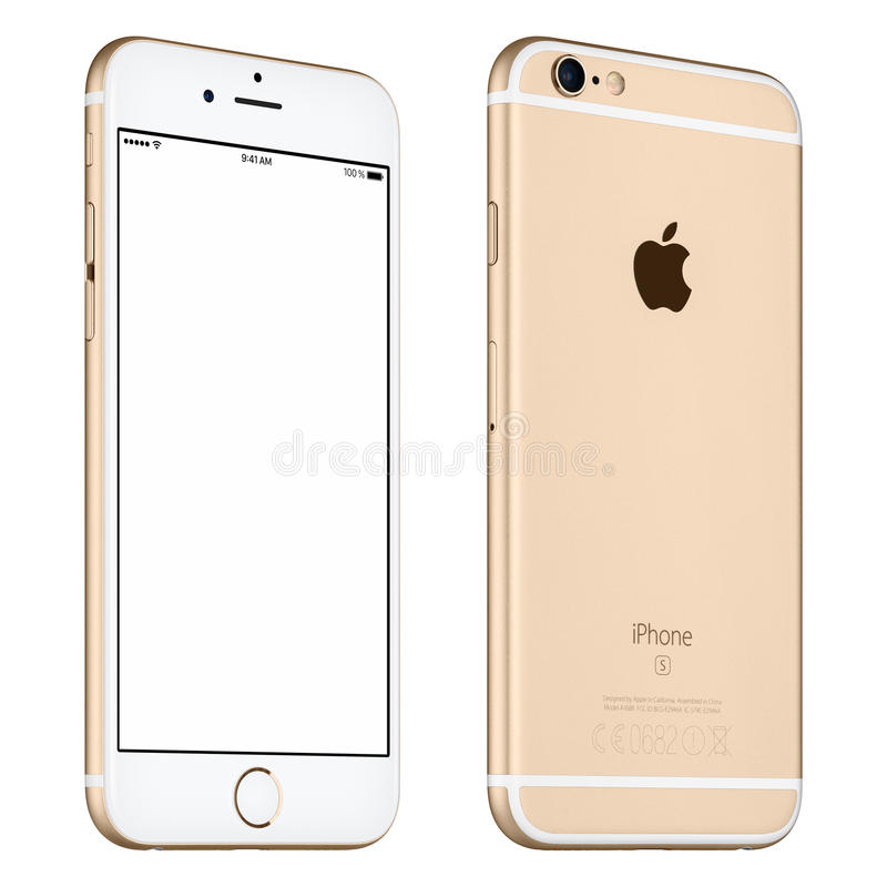 Gold Apple iPhone 6S mockup slightly rotated front view with stock image