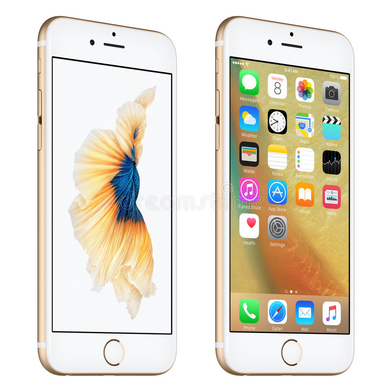 Gold Apple iPhone 6S slightly rotated front view with iOS 9. Varna, Bulgaria - October 24, 2015: Gold Apple iPhone 6S rotated at a slight angle bottom up view royalty free illustration
