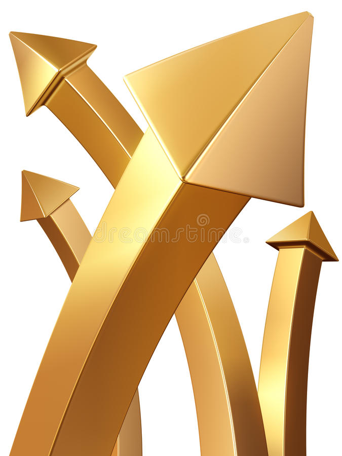 Download Gold Arrow Pointing Up Gold Value Concept Stock Illustration - Image: 17106743