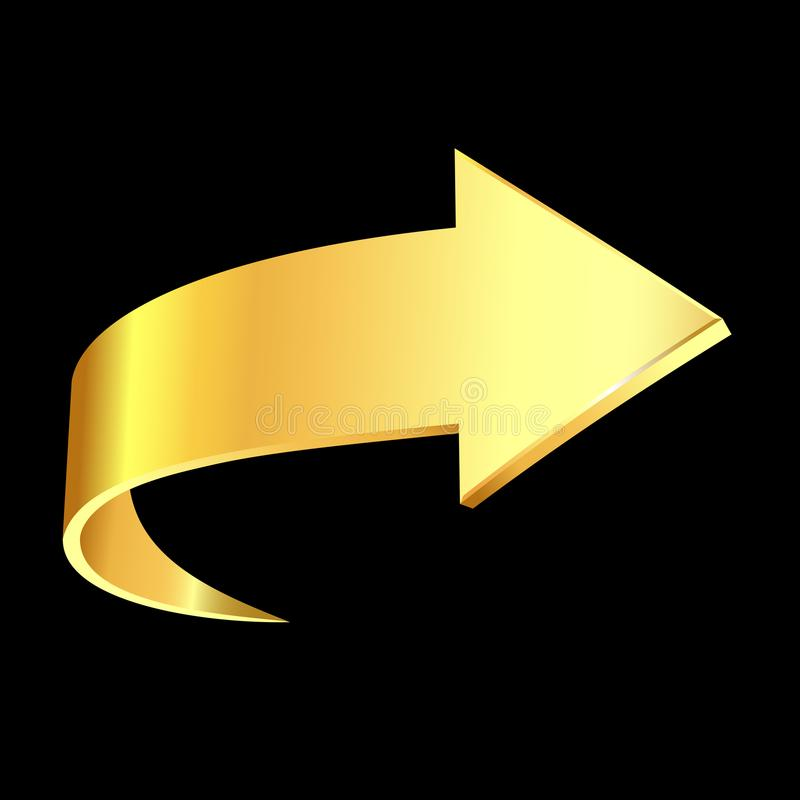 Gold arrow. Business. Gold arrow sign and black background. Business concept stock illustration