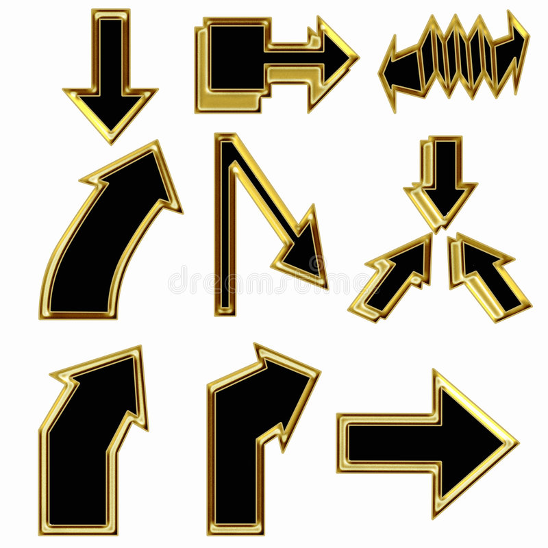 Download Gold arrows stock illustration. Image of elements, curve - 6659464