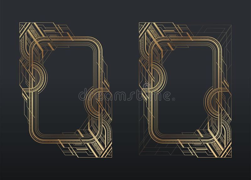 Gold art deco frames set on dark gray background royalty free illustration