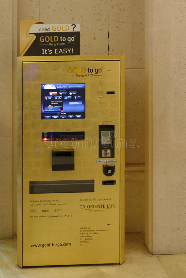 Gold ATM in Dubai stock photos