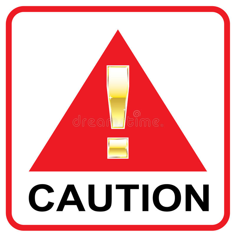Gold Attention mark on red sign Caution vector triangle stock illustration